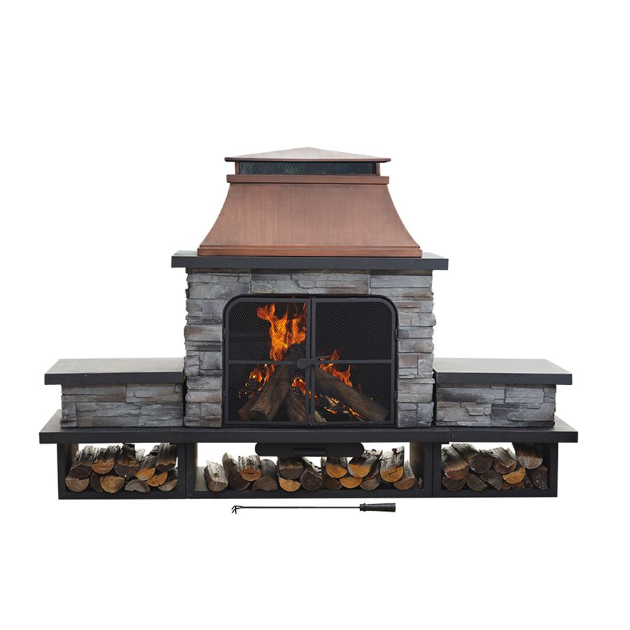 Sunjoy Black Steel Outdoor Wood Burning Fireplace At Lowes