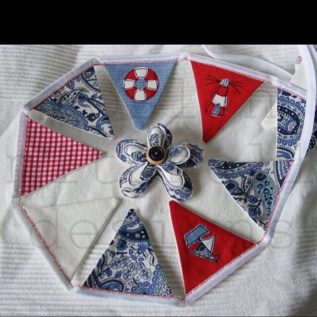 My Bespoke nautical bunting and brooch by Roslyn Mitchell designs.