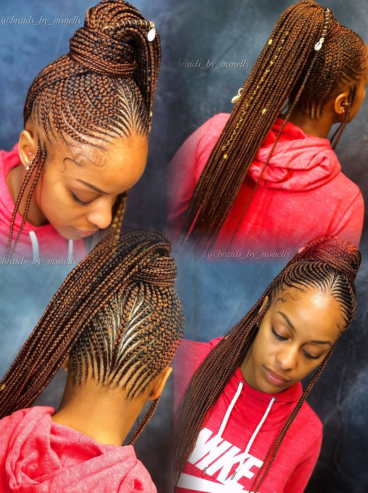 Braided Ponytail, Tribal Style, Braids, Lemonade Braids -9544