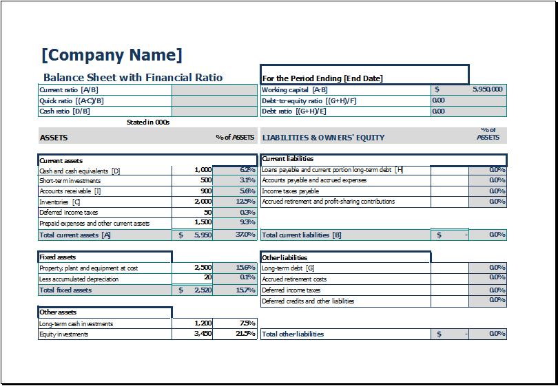 Balance Sheet With Financial Ratio Excel Templates Balance Sheet Template Balance Sheet Financial Ratio