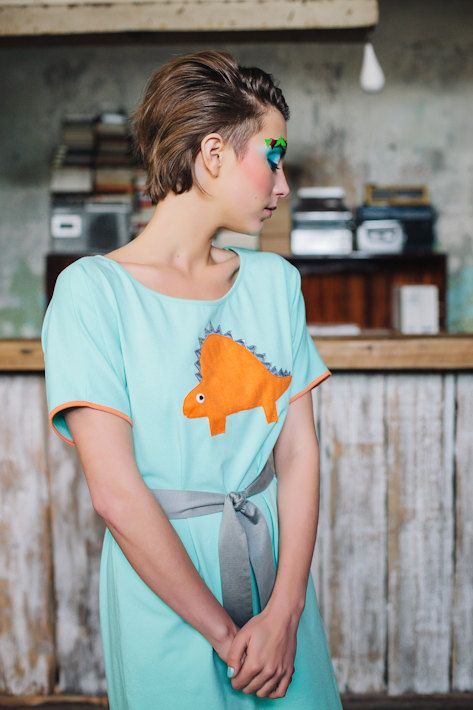 MINT dinosaur dress with orange stegosaurus applique