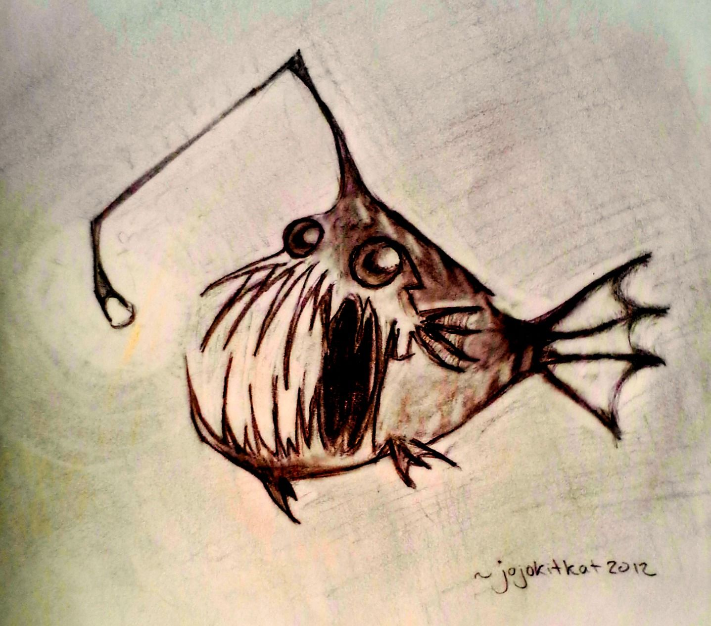 angler fish in charcoal / conte