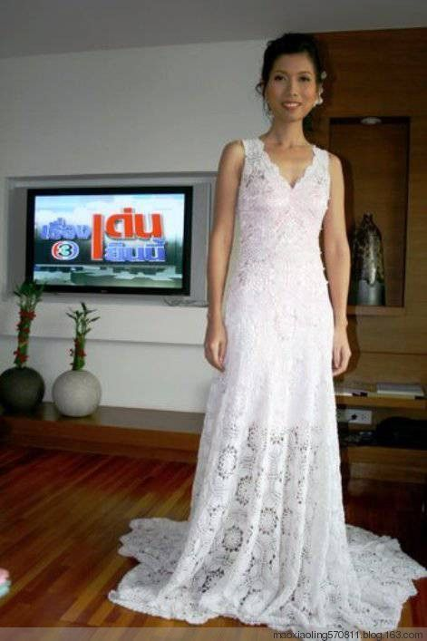Crochet Wedding Dress LCW Made Of One Simple Diagram Gorgeous Could Adjust Pattern So Not Long For Evening