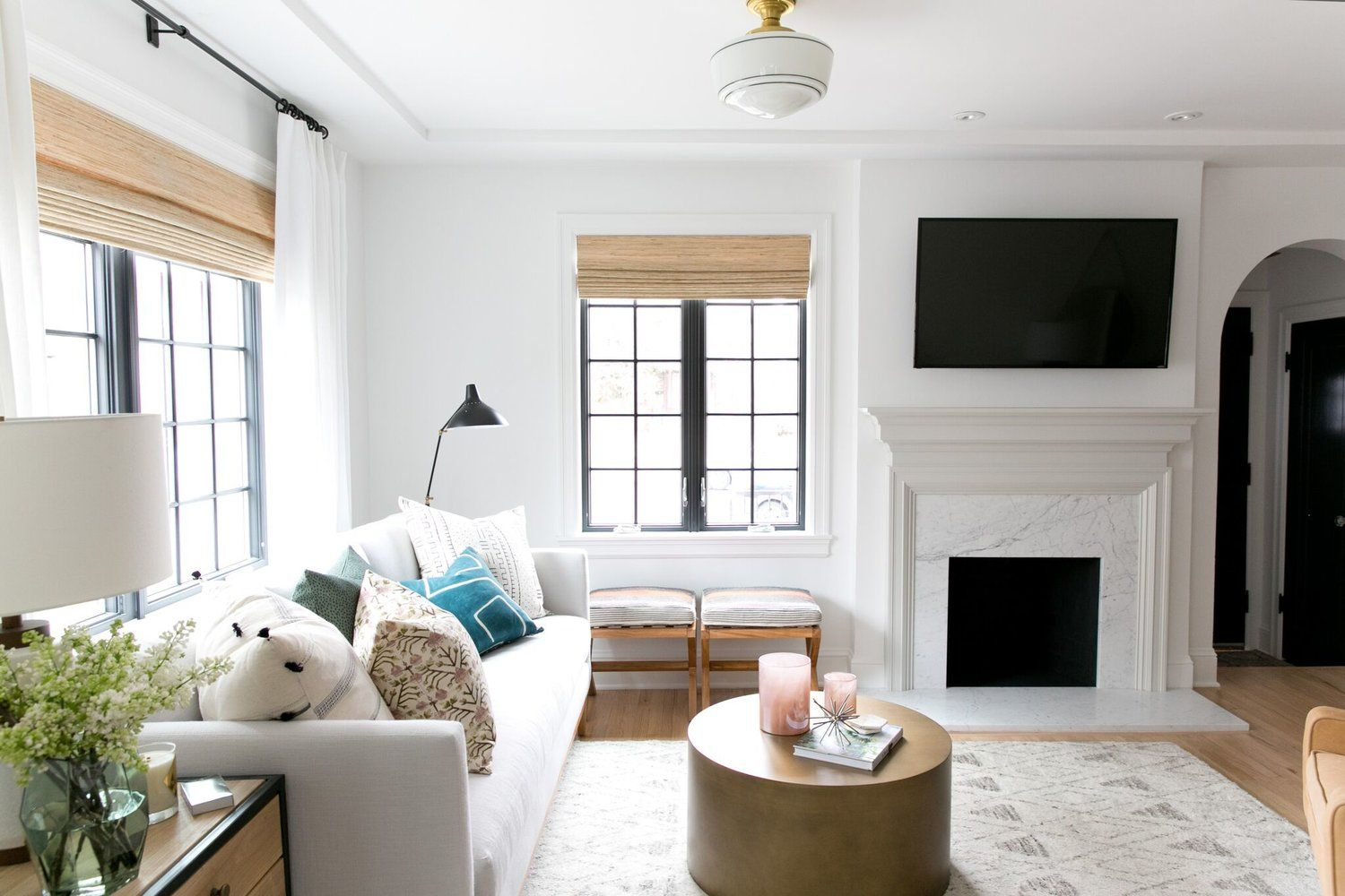 Denver Tudor Reveal | White couches, Black windows and Living rooms