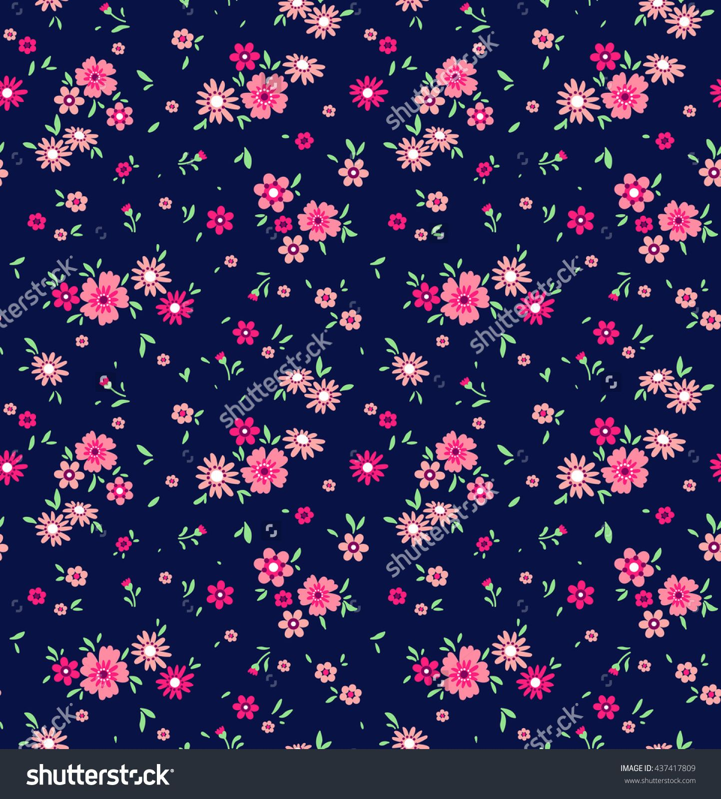 Cute pattern in small flower. Small pink flowers. Dark