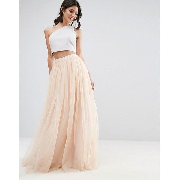 ASOS Tulle Maxi Prom Skirt (355 SAR) ❤ liked on Polyvore featuring skirts, beige, long beige skirt, tall maxi skirt, long tulle skirt, tulle maxi skirt and ankle length skirts