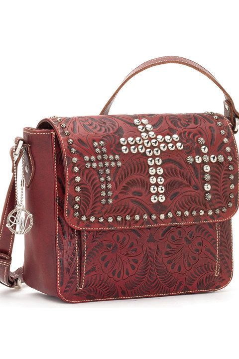 08d818c2a9 Trend setting purse by American West Cross body bag with adjustable  shoulder strap Hand tooled leather in beautiful pomegranate shade  Embellished with ...