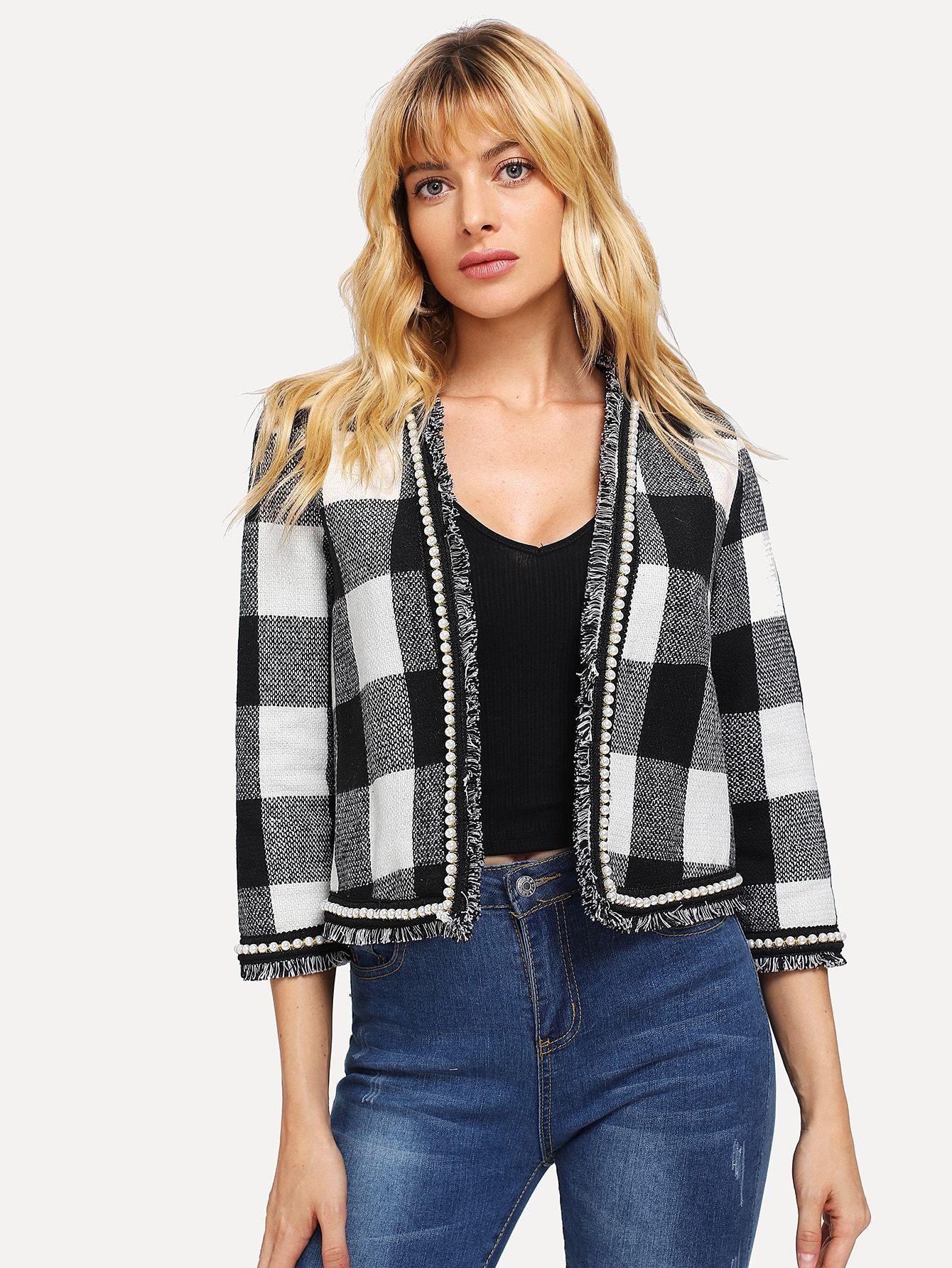 534047a838 Pearl Beaded Frayed Edge Tweed Coat -SheIn(Sheinside) | Fashion ...