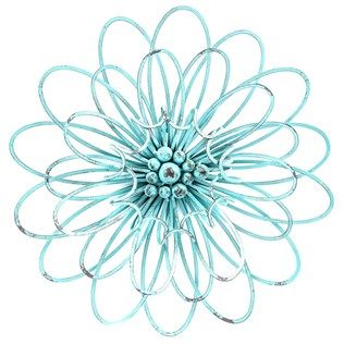 turquoise 3d metal flower wall decor - Metal Flower Wall Decor