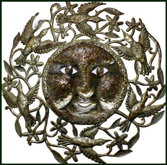 Metal Art, Sun  Birds, Haitian Steel Drum Art, Metal Art Wall Decor