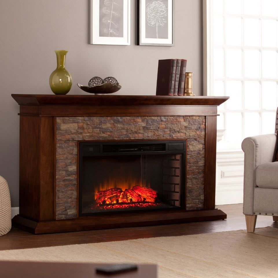 60 Canyon Heights Whisky Maple Simulated Stone Electric Fireplace