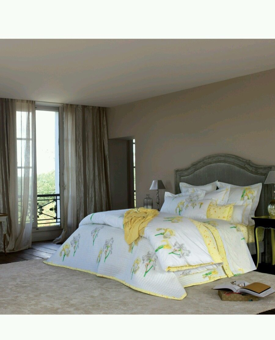 He Solstice bedding, refers to the intensity of light at the Summer Solstice, features an array of the Lemon Mist Irises printed in glorified Yellows, and vivid Greens, shaded with Grays, on a crisp White percale. | eBay!