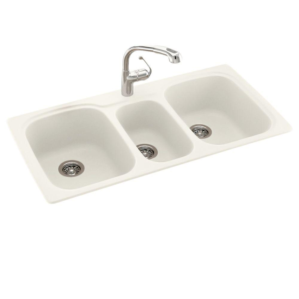 Swan Drop In Undermount Solid Surface 44 In 1 Hole 40 20 40 Triple Bowl Kitchen Sink In Bisque Ks04422tb 018 The Home Depot Sink Drop In Kitchen Sink Kitchen Sink