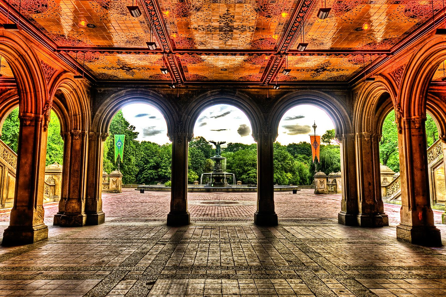 bethesda terrace, central park, nyc | central park and fountain