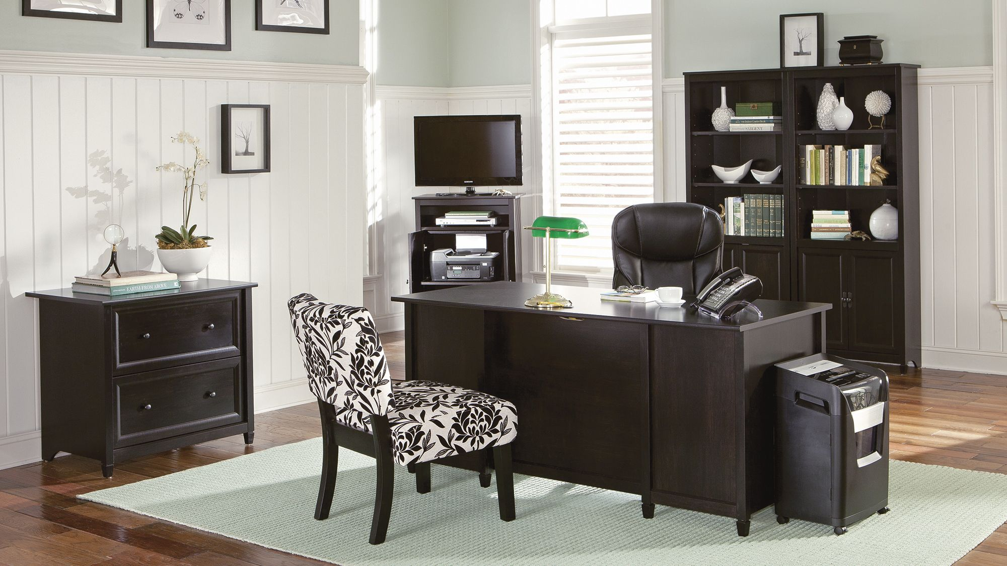 99 sauder edge water executive desk estate black