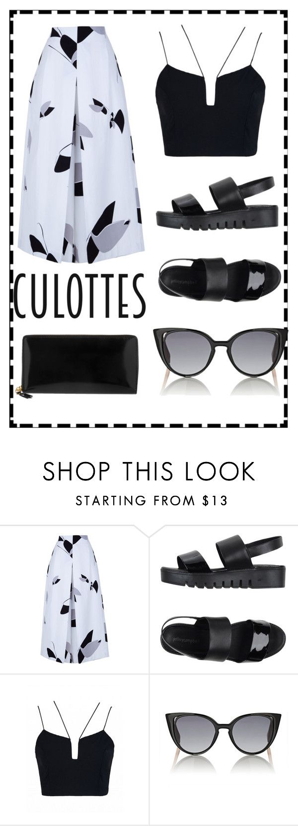 """""""Culottes"""" by caroline-mauery ❤ liked on Polyvore featuring TIBI, Jeffrey Campbell, Fendi, Comme des Garçons, TrickyTrend and culottes"""