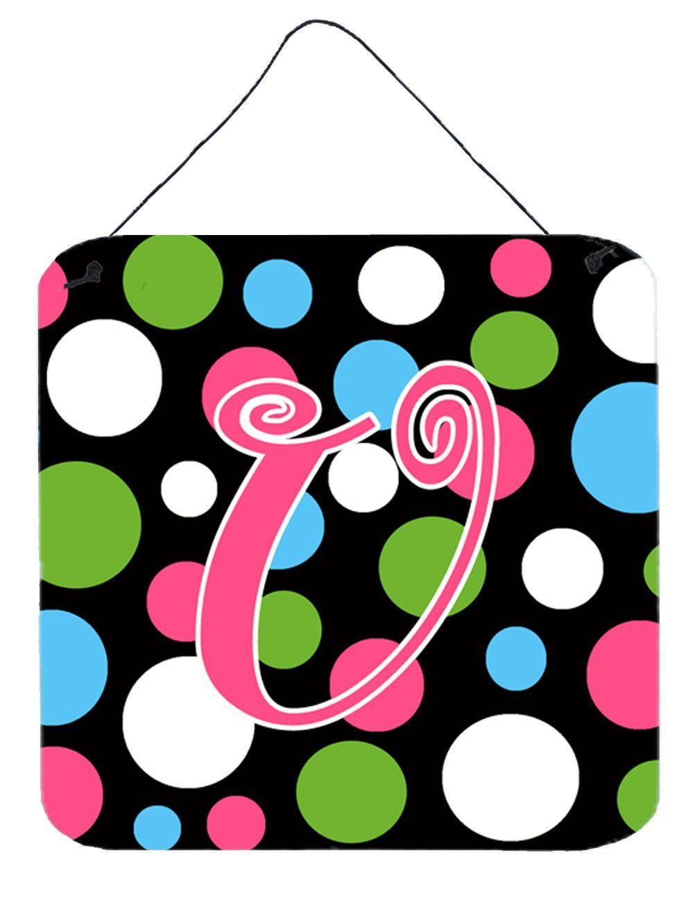 Letter U Initial Monogram - Polkadots and Pink Wall or Door Hanging Prints
