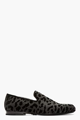 Jimmy Choo Grey & Black Textured Leopard Loafers for men | SSENSE