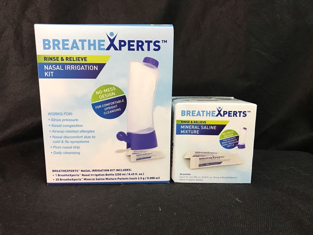 BREATHEXPERTS Nasal Irrigation Kit + 50 Mineral Saline