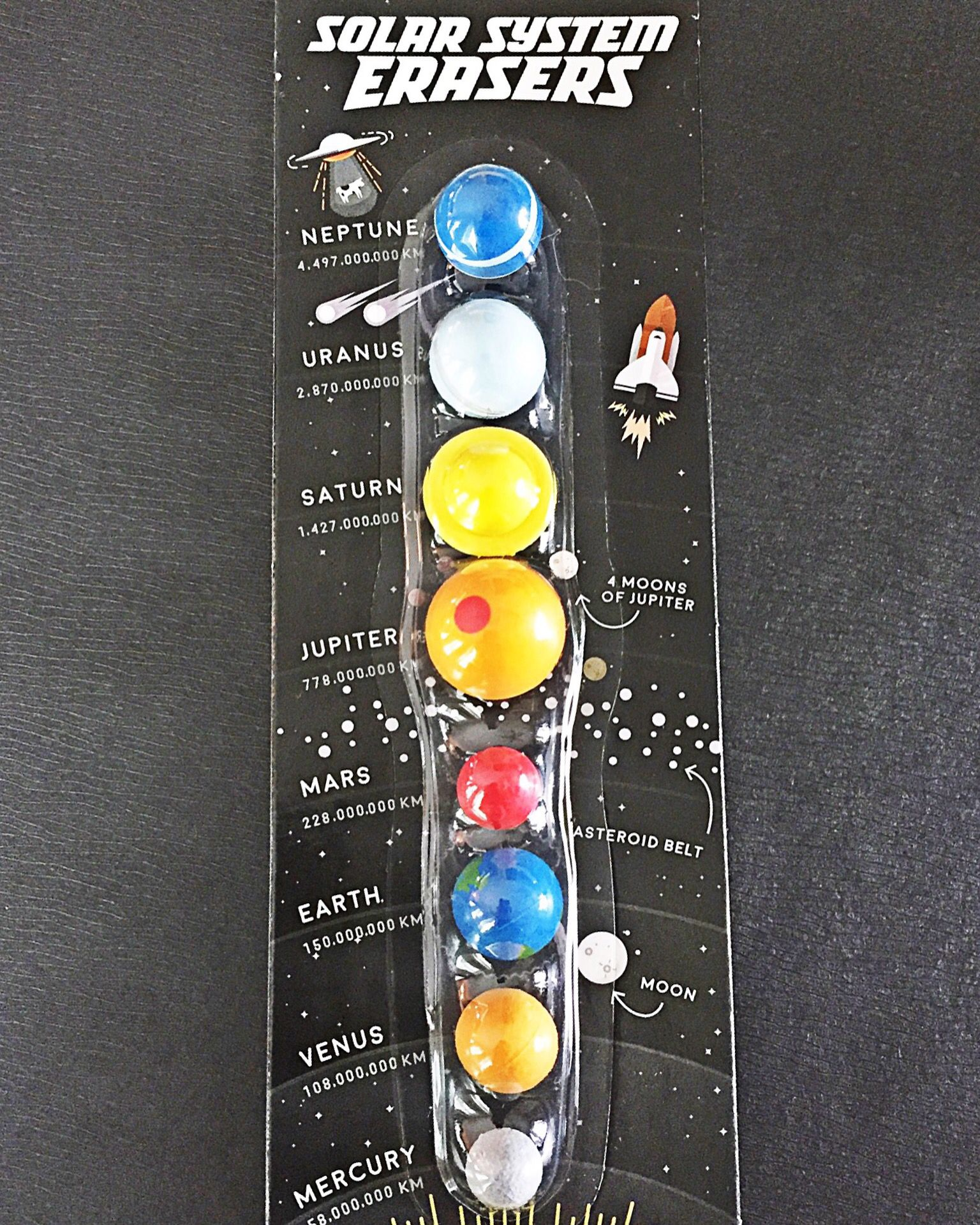 A mistake doesn't have to be the end of the world... Jupiter and Mars are more than capable of fixing it. Solar system erasers-$11.95