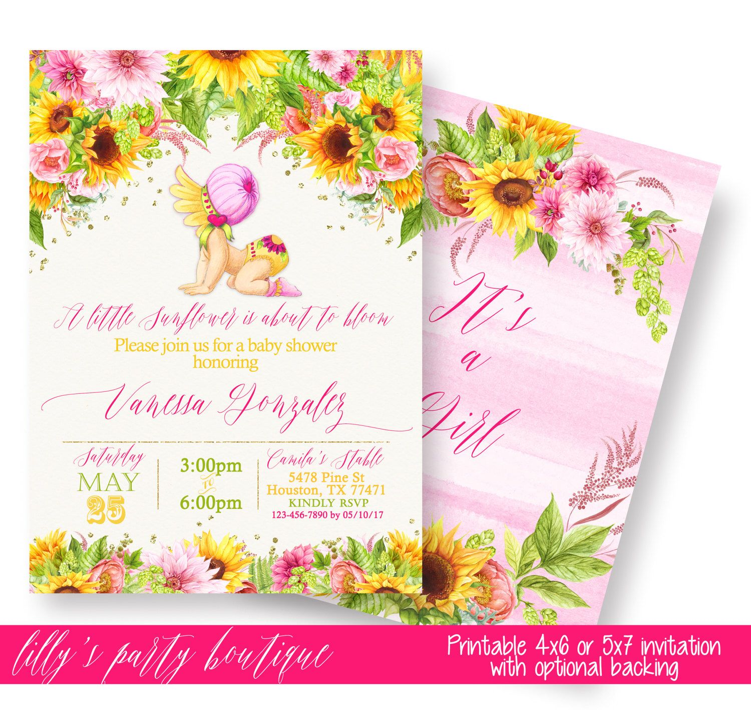 Sunflower baby shower invitation sunflower baby shower yello and sunflower baby shower invitation sunflower baby shower yello and pink sunflower baby shower invite sunflower baby you print by lillyspartyboutique on filmwisefo