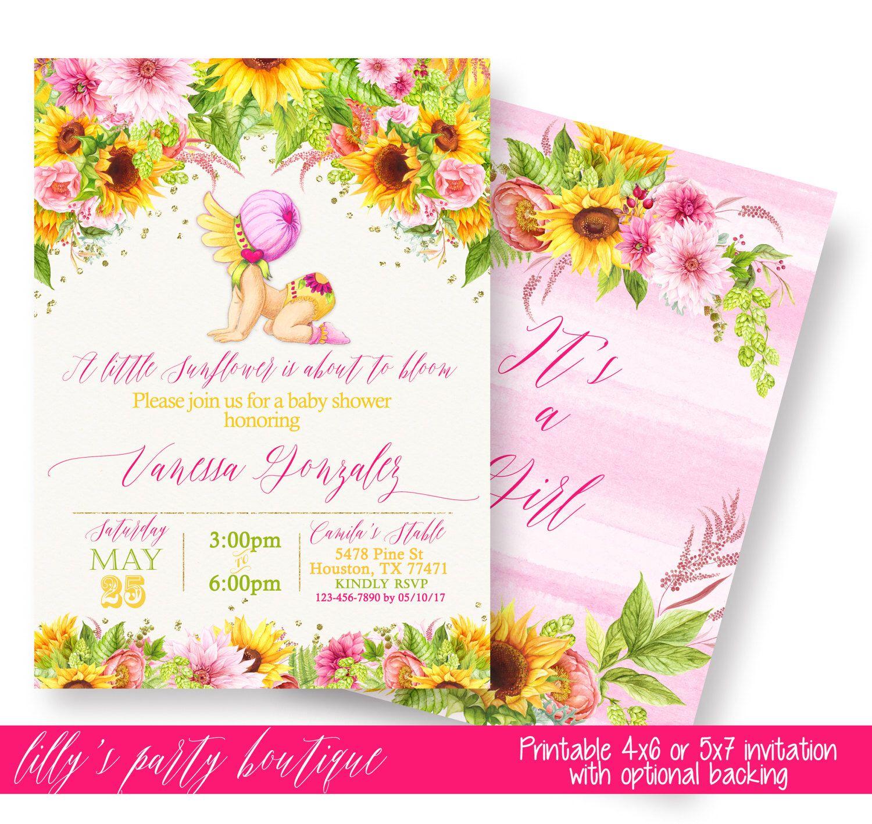Sunflower Baby Shower Invitation, Sunflower Baby shower, Yello and ...