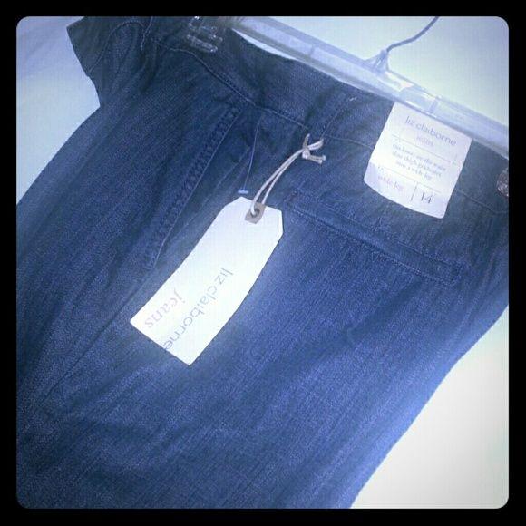 Liz Claiborne Denim Jeans A stylish wide leg denim jean that sits lower on the waist,  slimming the thigh and graduates into a wide leg Liz Claiborne Jeans