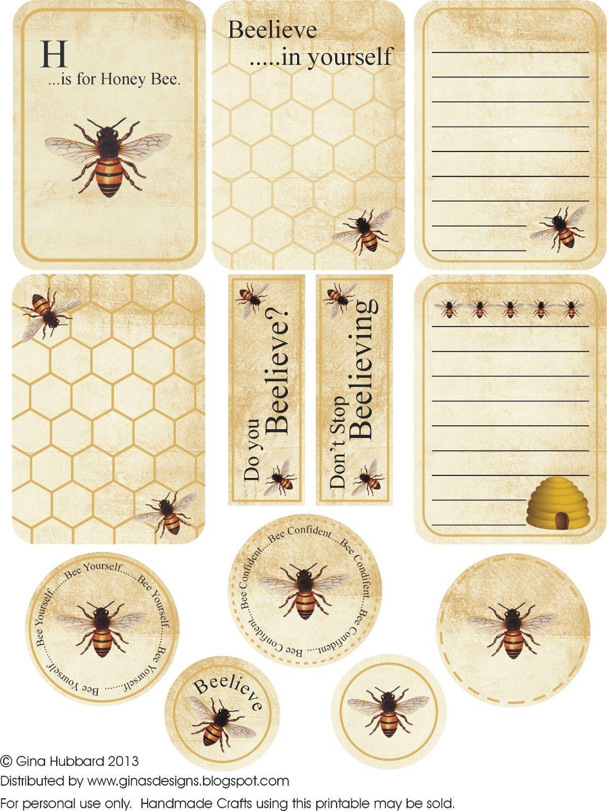 Bee Vintage Scrapbook Tags Printables Ephemera Pinterest