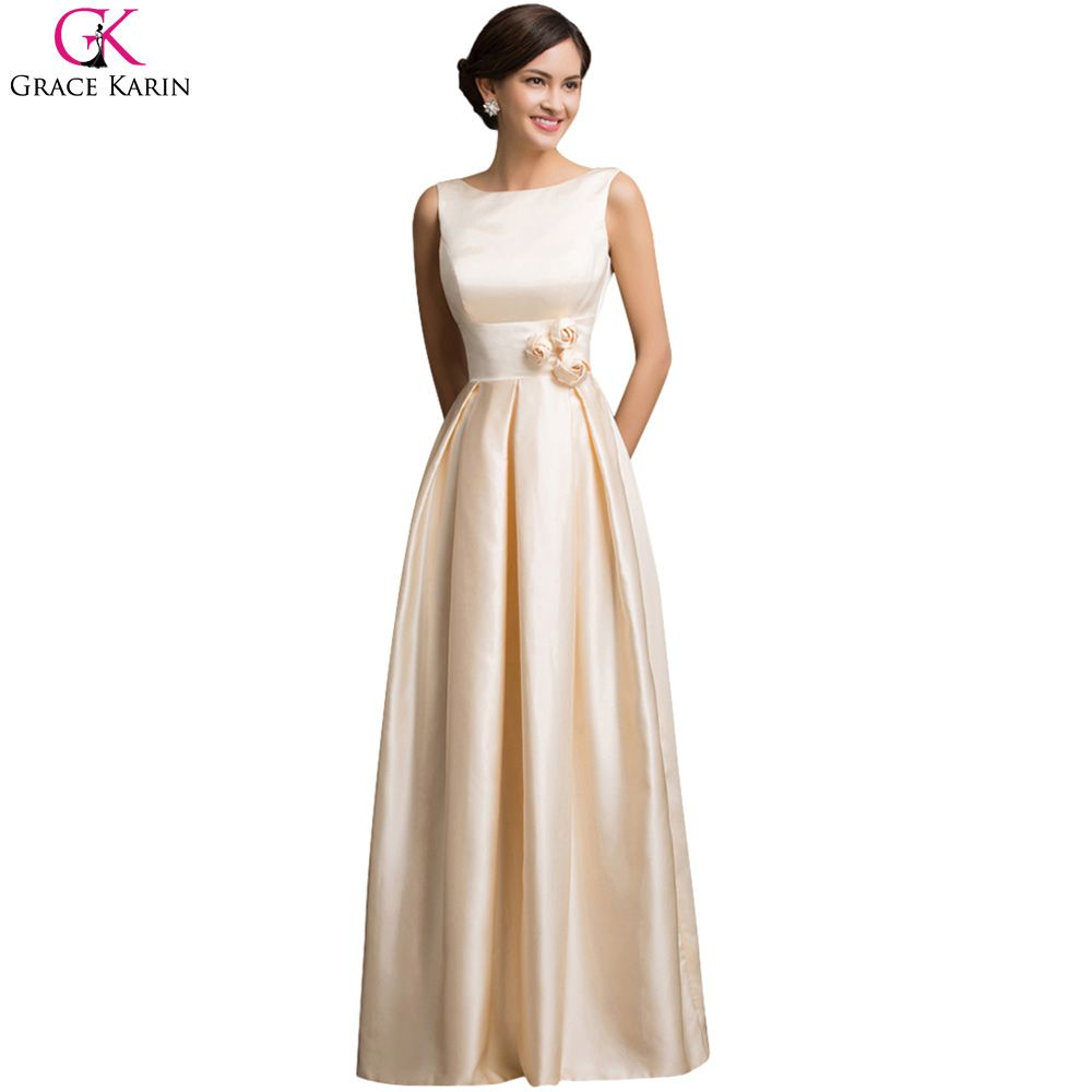 Grace karin prom dresses champagne satin elegant formal gowns open