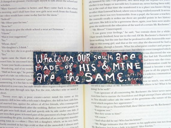 Hand Painted Bookmark // Emily Bronte Quote // by PeelsandPosies
