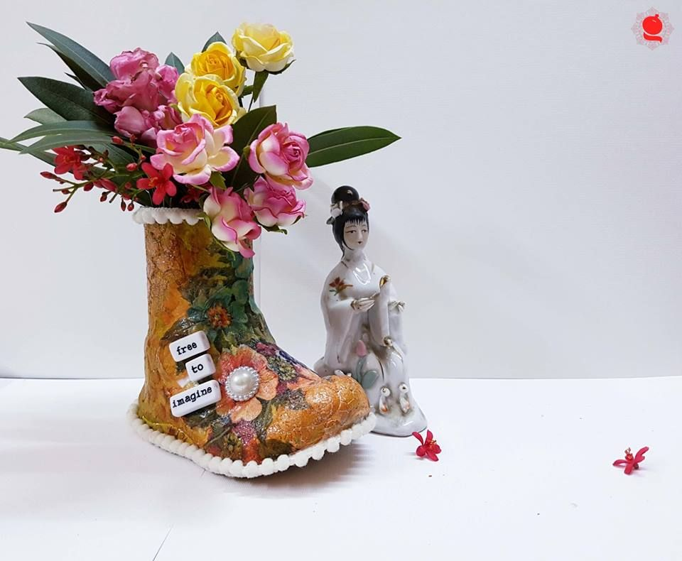 Flower Pot Done Using A Cute Tiny Shoe Used Littlebirdie