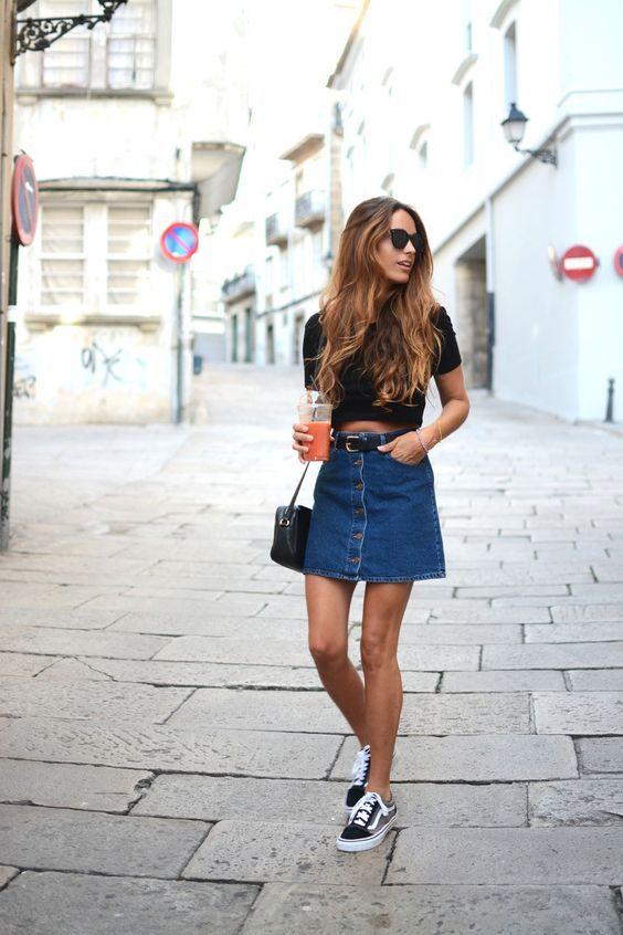 4082e816b 37 Fashionable Ways To Wear Vans | Fashion | Fashion, Denim skirt ...