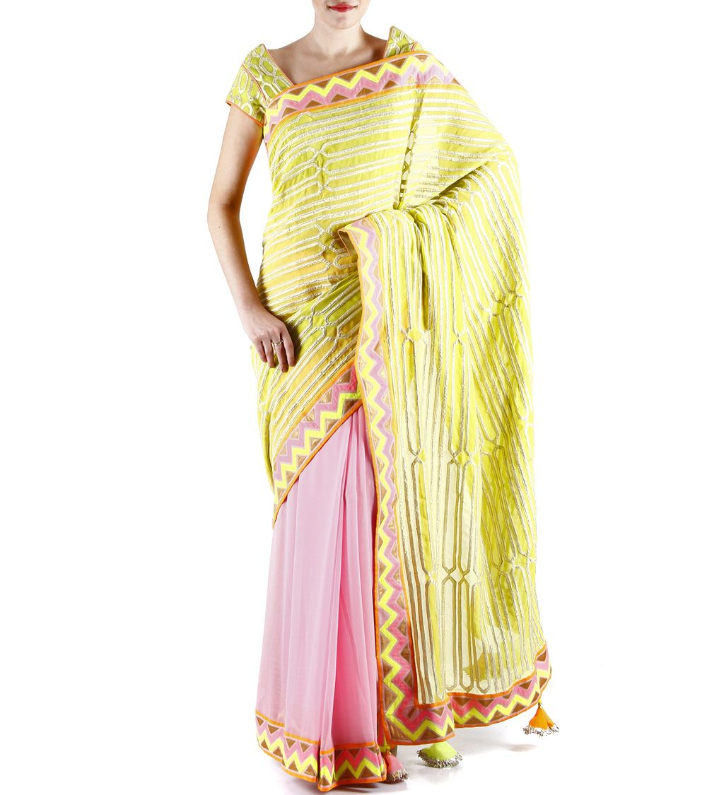 Candy Pink Appliqued Georgette Saree #indianroots #ethnicwear #saree #georgette #appliqued #summerwear #casualwear