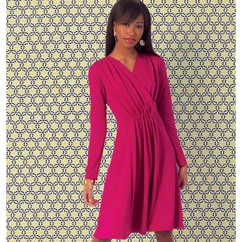 These close-fitting, pullover dresses have lapped fronts, creating a V-neckline, extended shoulders, elastic casings at center front and center back waist - Kwik Sew Misses Dresses Sewing Pattern 4013