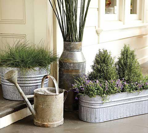 Galvanized Metal Tubs Buckets Pails As Planters Galvanized