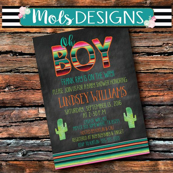 Fiesta Baby Shower Oh Boy Uno 1st Birthday Serape Blanket Bridal Surprise Mexican Wedding Cactus Muchacho