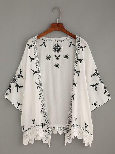 White Scalloped Crochet Trimmed Embroidered Kimono ~ us.shein.com ...