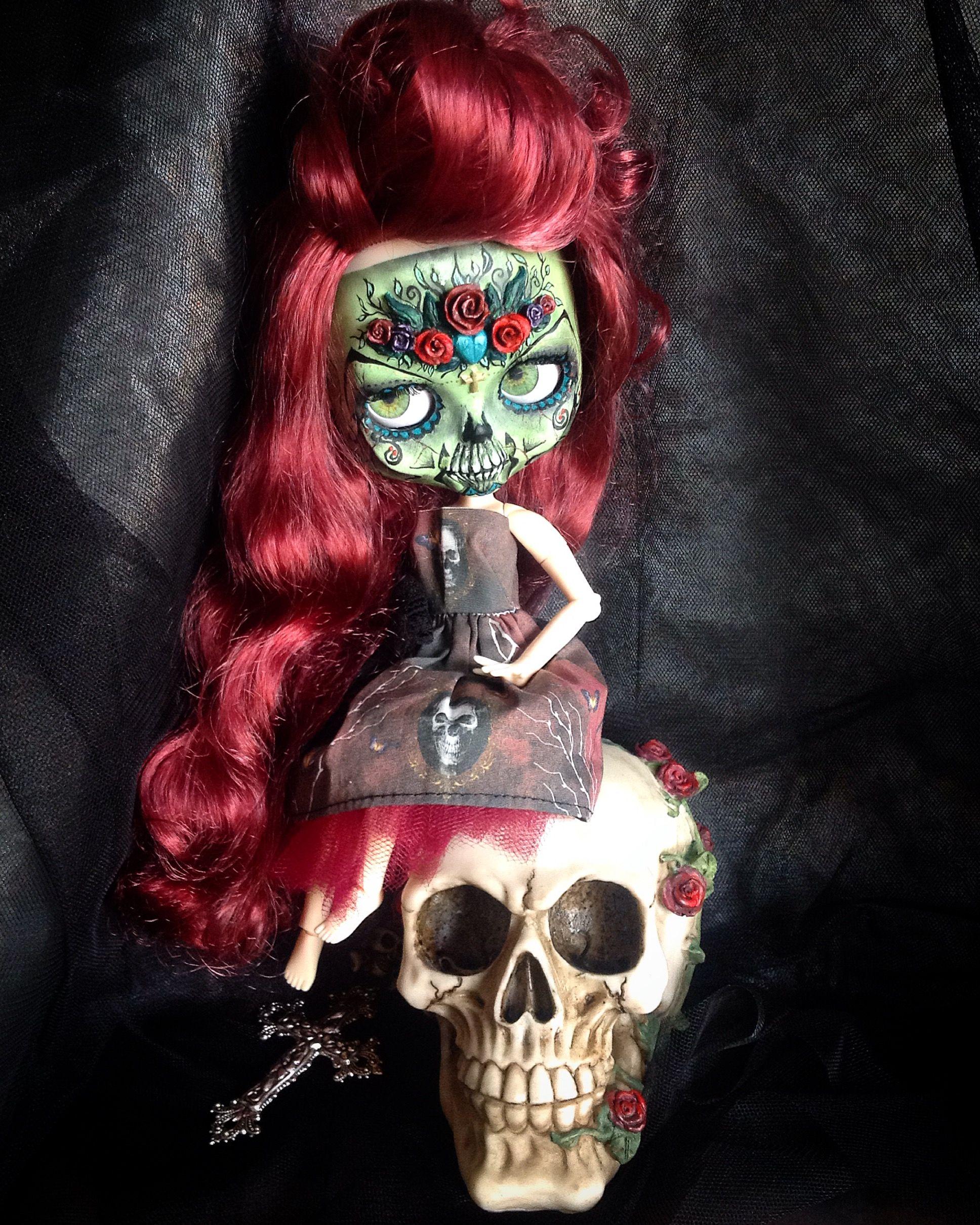 1761c2ff3c8b44 My Latest Custom  16.... Hellebore... My Beautiful Day of the Dead Girl.. ❤  💀❤ 💀  hofmurdock  blythe
