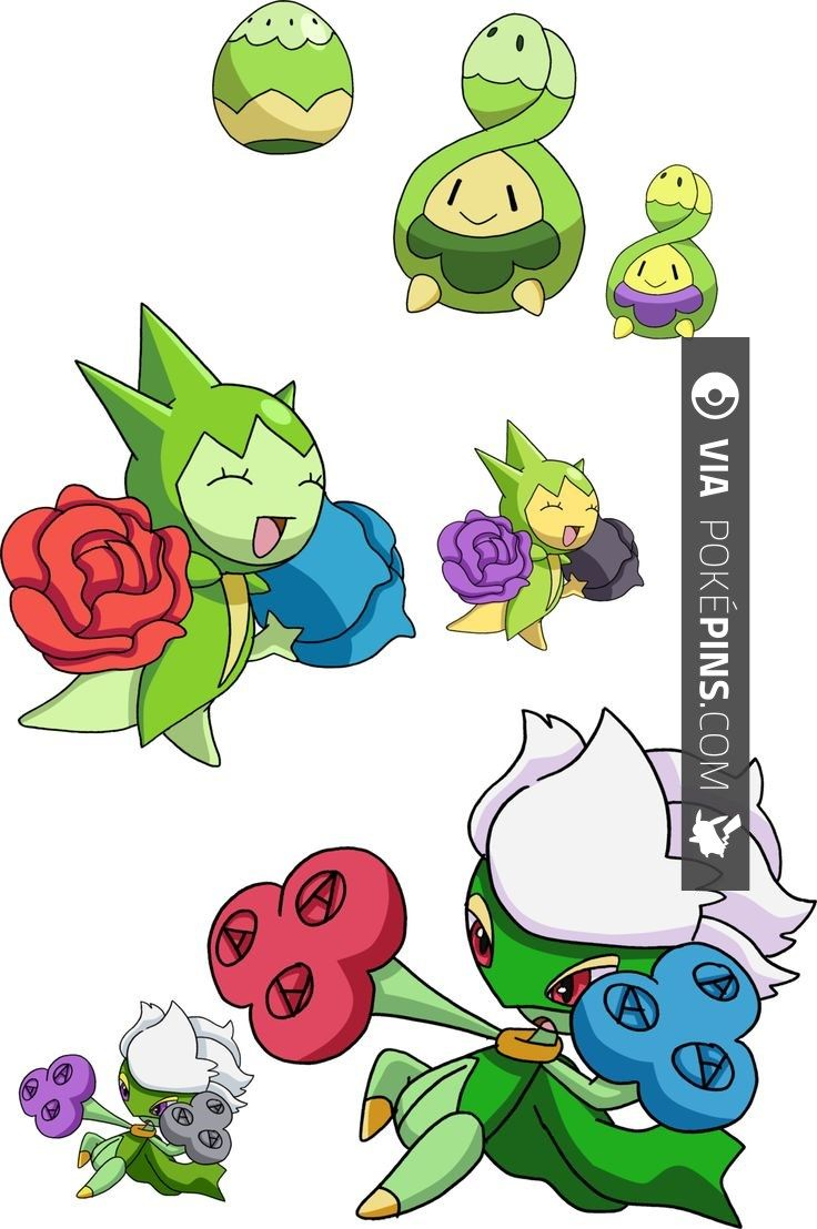 Roselia Pokemon 406 315 And 407 Budew Evolutionary Family By