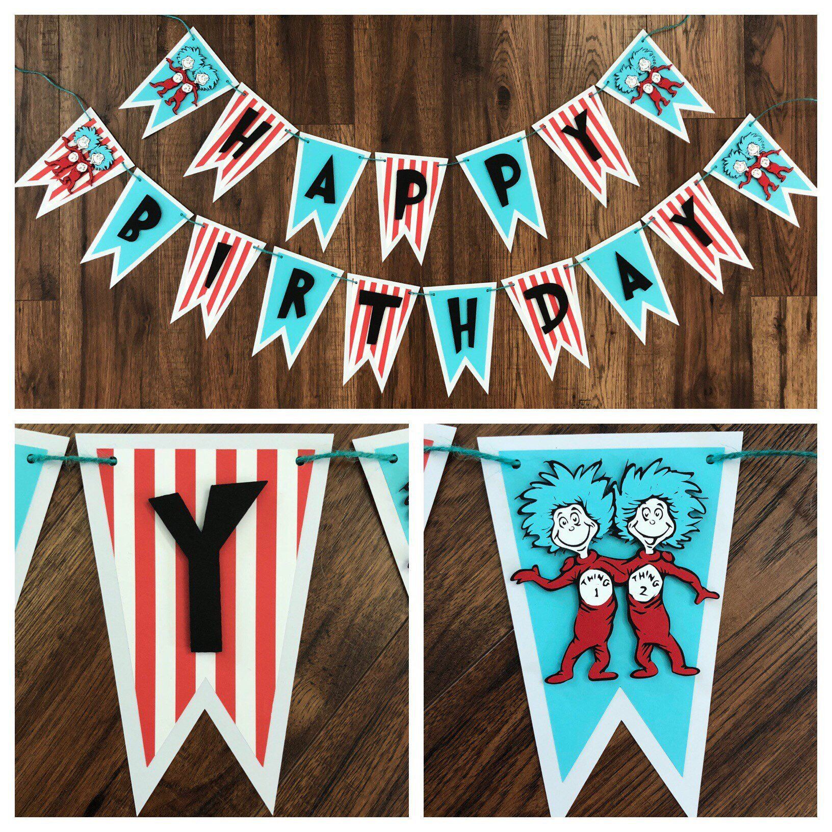 f403cb218bec6 Thing 1 Thing 2, Dr Seuss Happy Birthday Banner, Thing One Thing Two ...