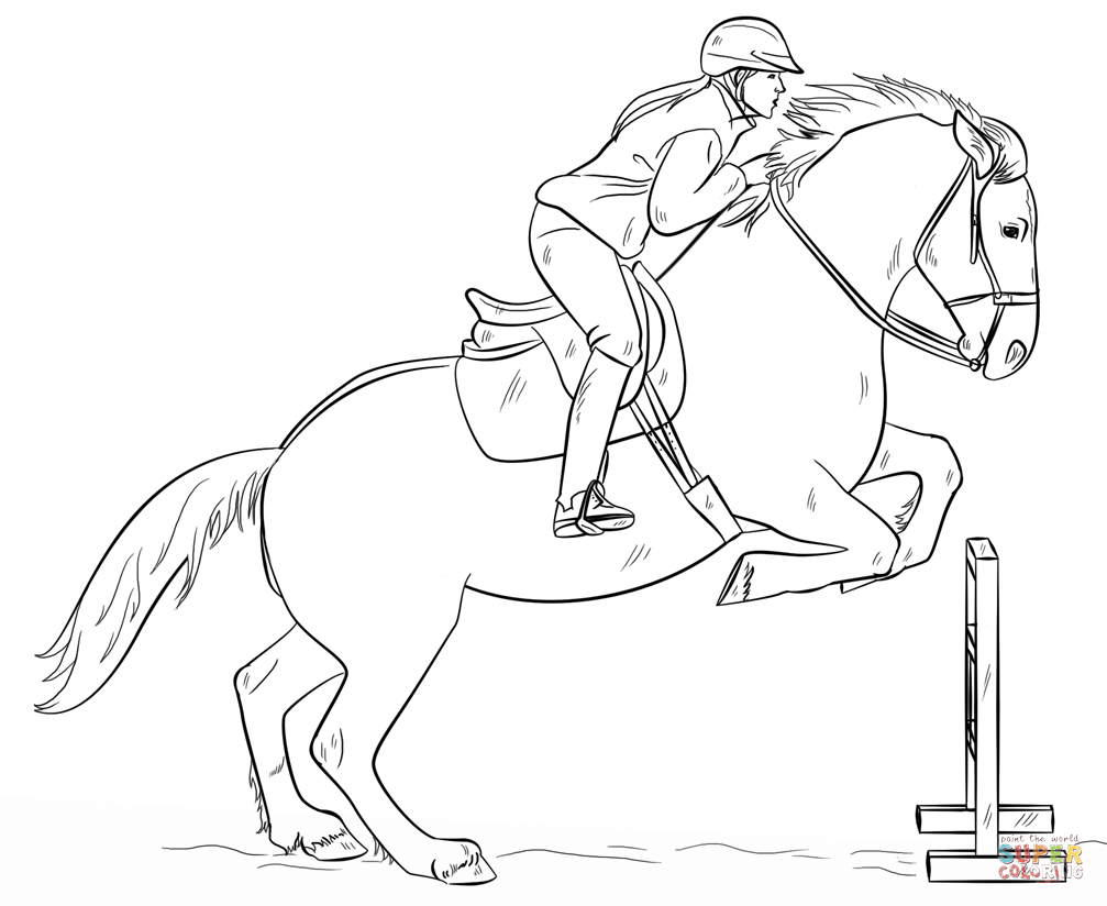 Jumping Horse With Rider Horse Drawing Tutorial Horse Drawings Horse Coloring Pages