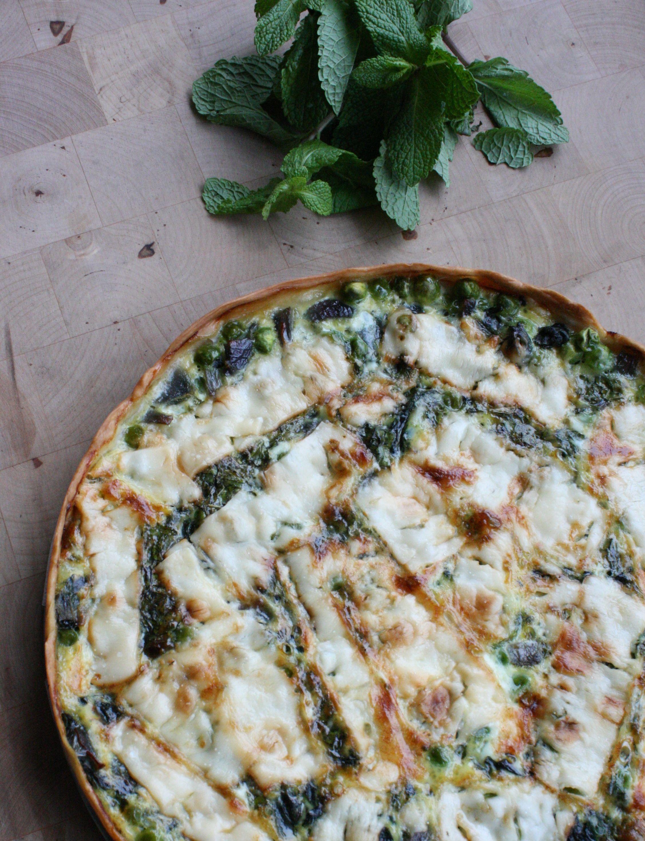 Doperwten en spinazietaart