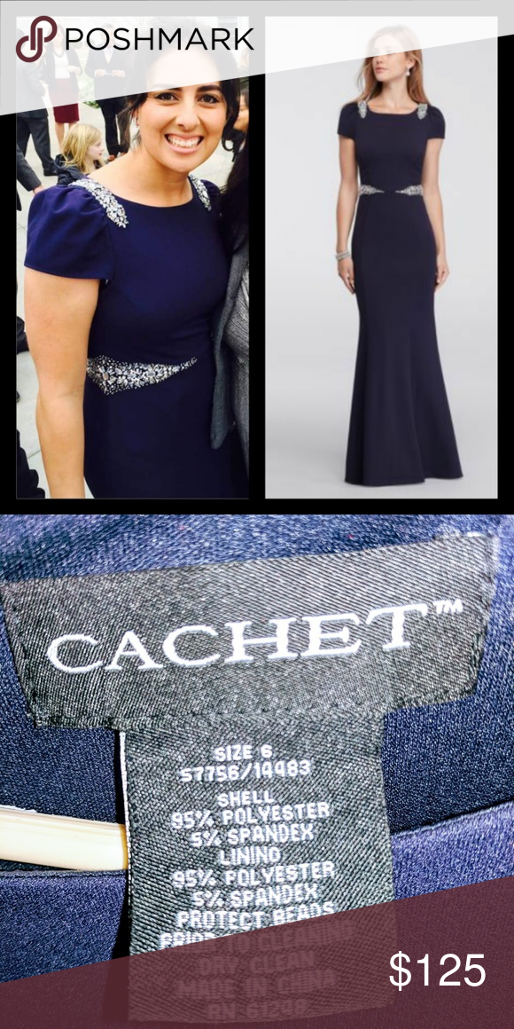 Chachet Navy Gown | Navy gown, Navy cap and Cap sleeve gown
