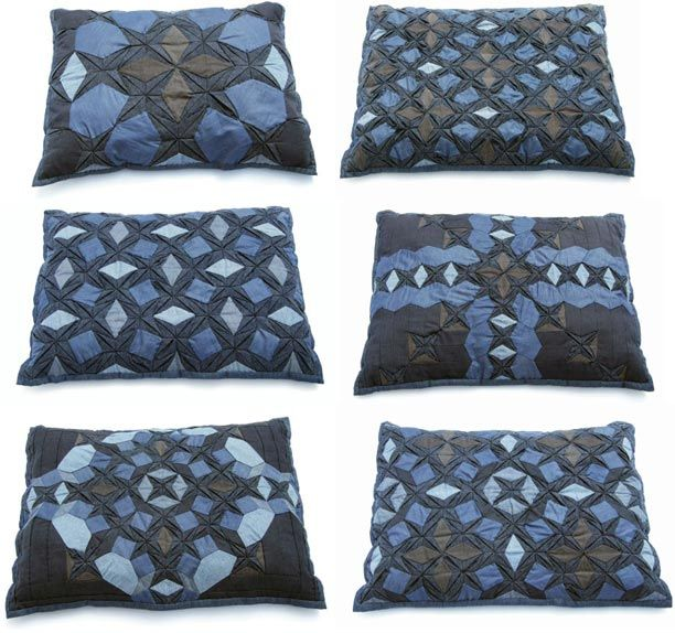 denim quilted pillows old trousers pinterest kissen jeansrecycling und jeans. Black Bedroom Furniture Sets. Home Design Ideas