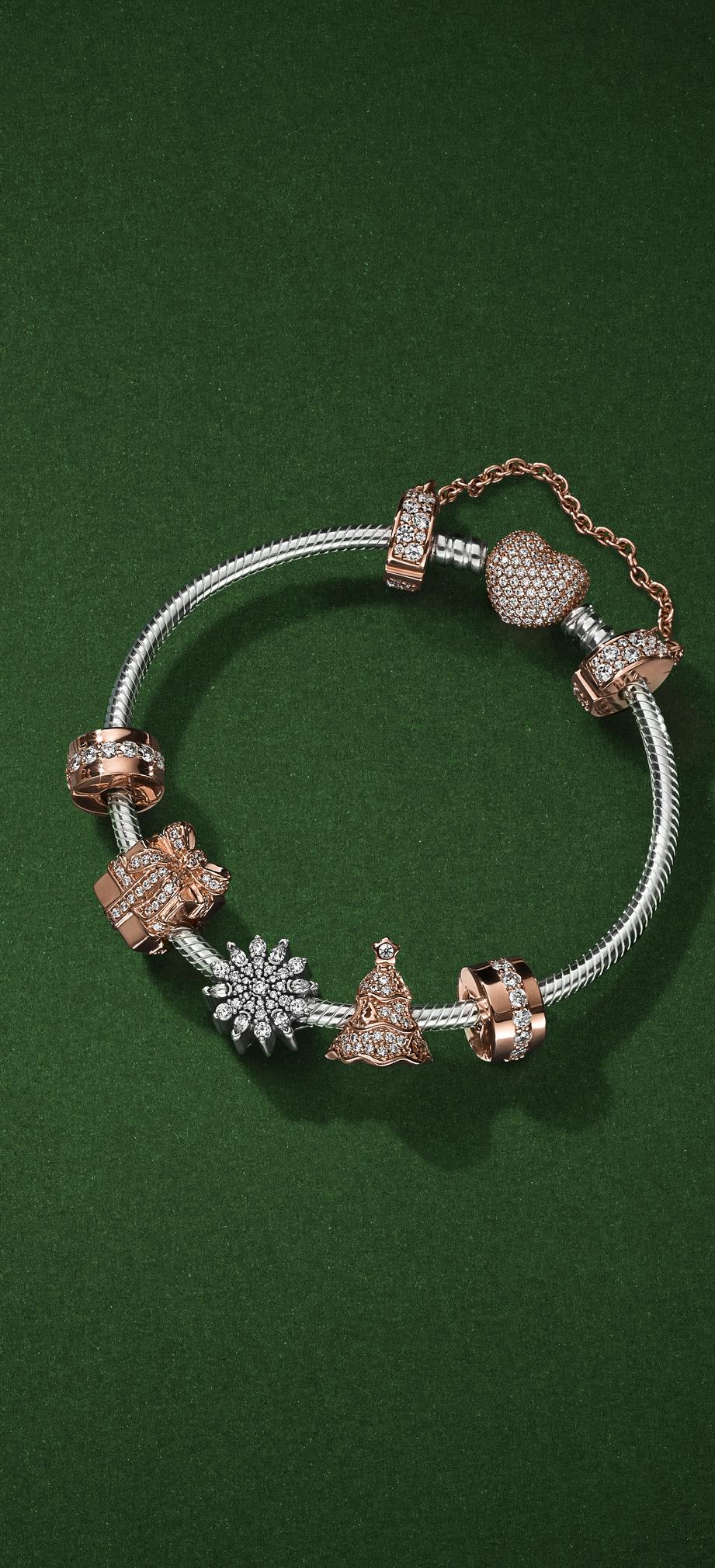Adorn Your Wrist With Sparkling Christmas Charms In Pandora Rose Our Unique Blush Metal B Pandora Bracelet Designs Pandora Jewelry Charms Mens Bracelet Silver