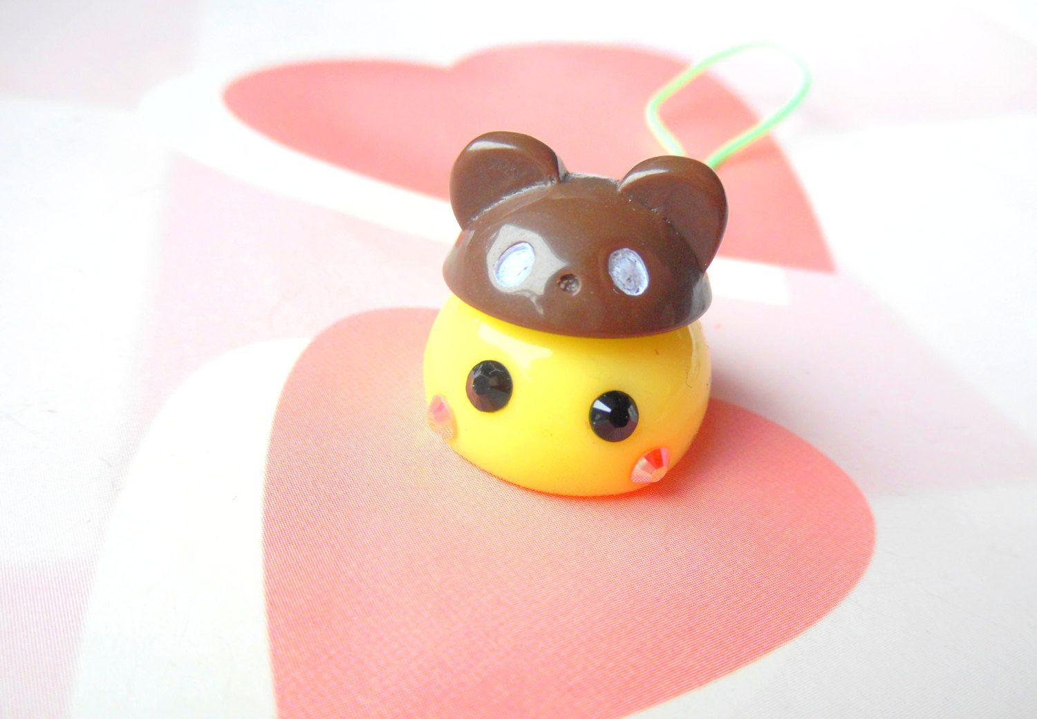 Bear Hat Cosplay Yellow Hoppe Chan, Tamagotchi Charm, Kawaii Phone Charm, Cute Dust Plug, Nintendo 3DS, PS Vita, Anime Lovers, Kawaii Animal by CreaBia on Etsy