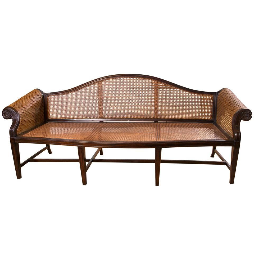 Chinese Export Rosewood Caned Sofa