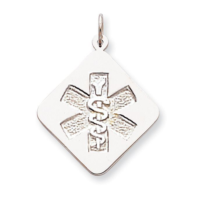 Sterling Silver Rhodium-plated Non-enameled Medical Jewelry Pendant XSM69N