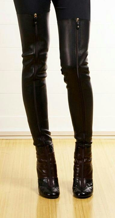 Tall Chanel boots - would prefer the style in the back though...