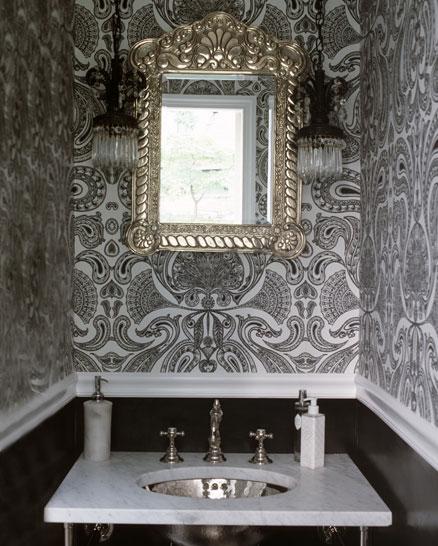 Flocked Wallpaper Transitional Bathroom Lori Graham Design Powder Room Wallpaper Wallpaper Interior Design Silver Marble Wallpaper